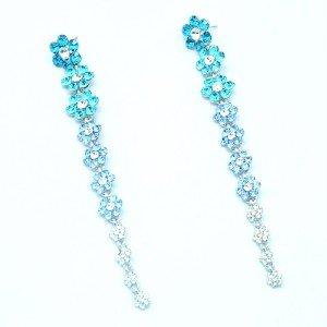 Rhinestone Crystals Cute Blue Long Flower Pierced Dangle Earring 88322