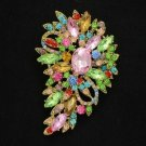 "Cute Rhinestone Crystals Multicolor Flower Brooch Pin 3.3"" Jewelry"