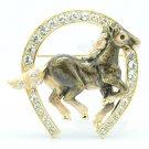Gray Swarovski Crystals Women Jewelry Horse Brooch Broach Hat Pin W/ Enamel 4515