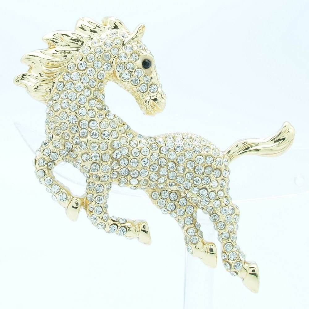 Onrushing Cute Clear Horse Brooch Broach Pin Rhinestone Crystal Gold Tone FA3171