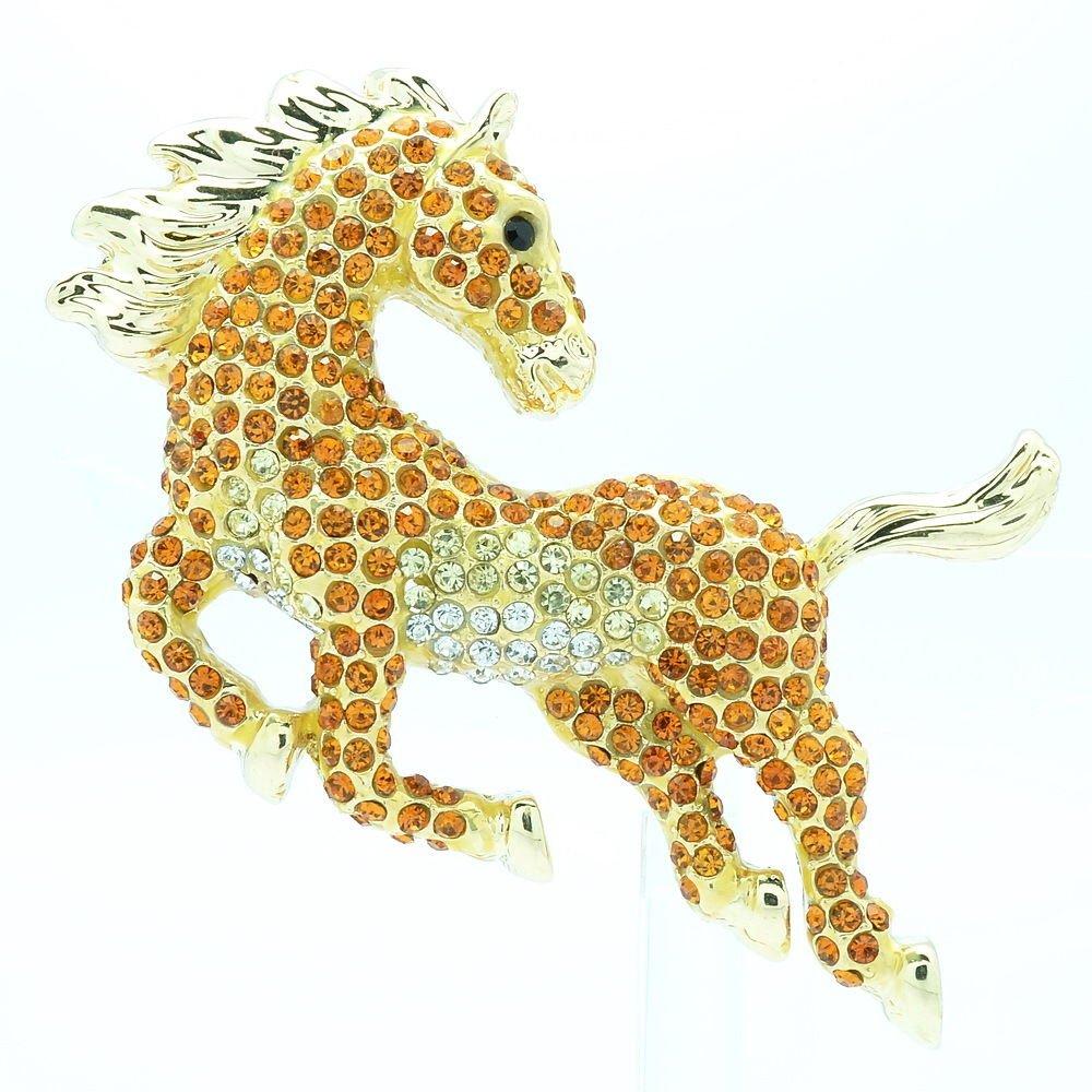 Luxury Running Animal Horse Brooch Broach Pin Topaz Rhinestone Crystals FA3171