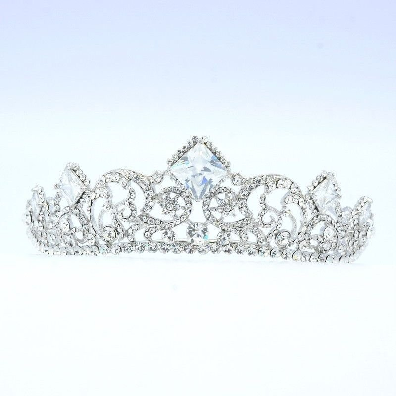 Princess Wedding Bridal Flower Tiara Crown W/ Clear Swarovski Crystals