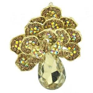 Vintage Brown Flower Brooch Pendant Broach Pin W/ Rhinestone Crystals 6175