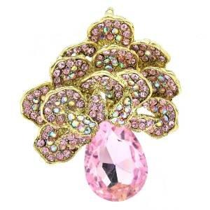 Vintage Pink Flower Brooch Pendant Broach Pin W/ Rhinestone Crystals 6175