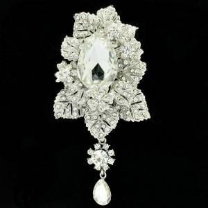 Clear Flower Leaves Brooch Broach Pendant Pin W/ Rhinestone Crystals 6176