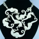 Rhinestone Crystals Multi Sea Horse Necklace Pendant w/ White Enamel