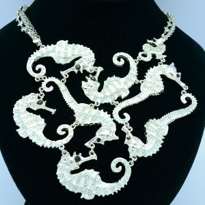 Rhinestone Crystals Multi Sea Horse Necklace Pendant w/ White Enamel