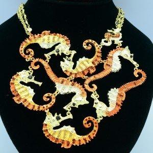 Rhinestone Crystals Multi Sea Horse Necklace Pendant w/ Brown Enamel