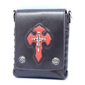 Fashion Punk Skeleton Skull PU Leather Handbag Shoulder Bag W/ Red Cross