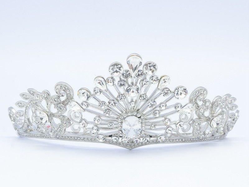 High Quality Swarovski Crystals Clear Flower Princess Tiara Crown Weding Bridal