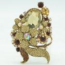 Glaring Brown Flower Brooch Broach Pin Costume's Jewelry Rhinstone Crystals 6409