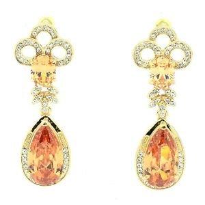 Popular Topaz Zircon Teardrop Flower Pierced Earring W/ Rhinestone Crystals