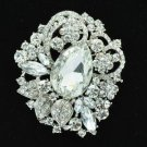 Flower W/edding Bridal Brooch Broach Pin Clear Rhinestone Crystal Drop 6173