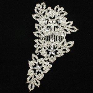 Long Bridesmaid Bridal Flower Hair Comb Clear Rhinestone Crystal