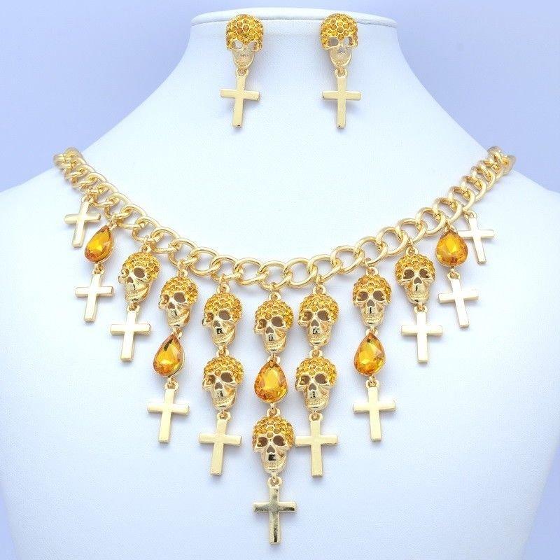 Cool Halloween Lots Cross Skull Necklace Earring Set Topaz  Rhinestone Crystal