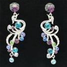 Multicolor Peafowl Peacock Pierced Earring Dangle Swarovski Crystal Women SE0856