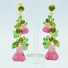 Vogue Pink Pear Pierced Earring High Quality Swarovski Crystals Dangle SEA0873-1