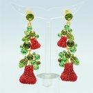 Pretty Red Pear Pierced Earring High Quality Swarovski Crystals Dangle SEA0873-1