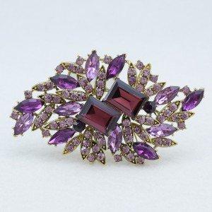 Pretty Purple Flower Brooch Broach Pin Women Bridal Jewelry Rhinestone Crystals
