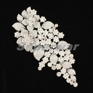 "Clear Rhinestone Crystals Wedding Large Flower Brooch Broach Pin 6.5"" For Women"