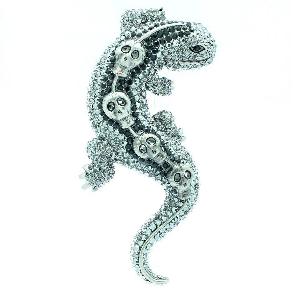 Skull Lizard Gecko Brooch Broach Pin w/ Black Rhinestone Crystals FA3173