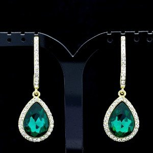 Chic Green Water Drop Pierced Dangle Earring Clear Rhinestone Crystal