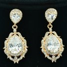 Flower Pierced Dangle Drop Earring Wedding Clear Zircon Rhinestone Crystal 20671