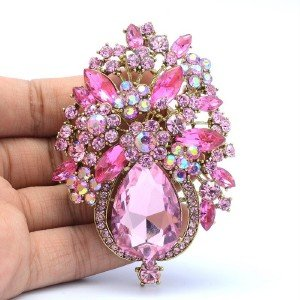 Vintage Water Drop Pink Rhinestone Crystal Flower Brooch Pin Broach Jewelry 5844