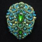 """Green Rhinestone Crystals Big Flower Tear Drop Brooch Broach Pin 4.9"""""""