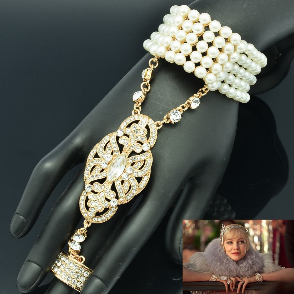 Rhinestone Crystals Wedding Bridal Pearls Bracelet Ring Set The Great Gatsby