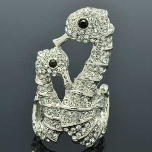 H-Quality Glitzy Clear Swarovski Crystals 2 Sea Horse Cocktail Ring Size USA:7#