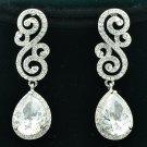 Vogue Flower Drop Zircon Pierced Earrings for Bridal Rhinestone Crystals FA3289