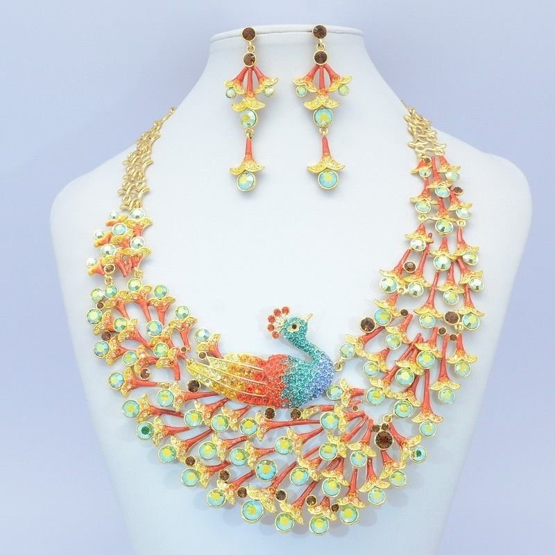 Gorgeo Swarovski Crystals Animal Multicolor Peafowl Peacock Necklace Earring Set