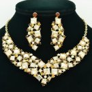New Gift Necklace Earring Set Yellow Rhinestone Crystal Accessories Jewelry 6696