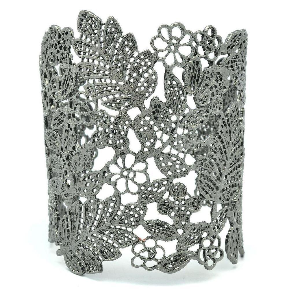 High Quality Beautiful Multi Flower Black Leaf Bracelet Bangle Cuff SKA2258M-2