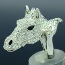Silver Tone H-Quality Animal Horse Cocktail Ring 7# W/ Clear Swarovski Crystals