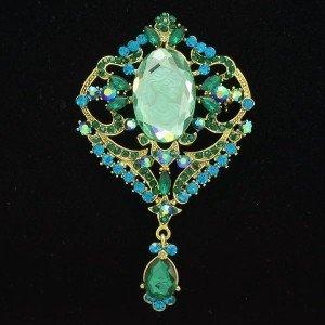 Retro Oval Lady Head Brooch Pin Green Rhinestone Crystal Pendant Flower 5701