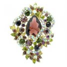Drop Vintage Style Flower Brooch Pin W/ Purple Rhinestone Crystals 6039
