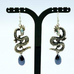 Vintage Style Dangle Dragon Pierced  Earring Black Rhinestone Crystals