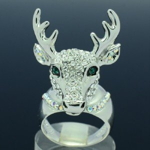 Fashion Clear Animals Deer Cocktail Ring Size 9# W/ Swarovski Crystals