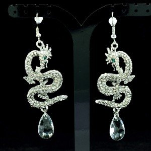 Dangle Dragon Pierced  Earring Clear Rhinestone Crystals
