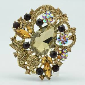 Teardrop Flower Brooch Pin Pendant Brown Rhinestone Crystal 6173