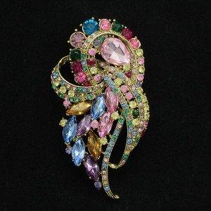 """Pretty Multicolor Flower Brooch Broach Pin 3.5"""" w/ Rhinestone Crystals 4243"""