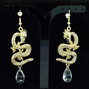 Dangle Dragon Pierced  Earring Clear Rhinestone Crystals Gold Tone