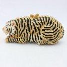Luxury Animal Gold Tone Tiger Clutch Evening Bag Handbag w/ Swarovski Crystals