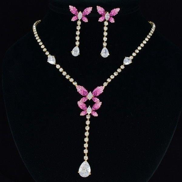 Swarovski Crystal Pink Scalewing Butterfly Necklace Earring Set Zircon Jewelry