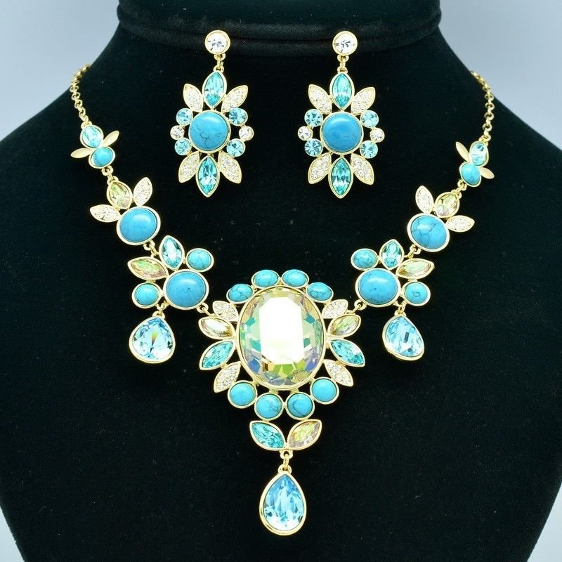 Women Prom Jewelry Turquoise Flower Necklace Earring Set Rhinestone Crystal 8401