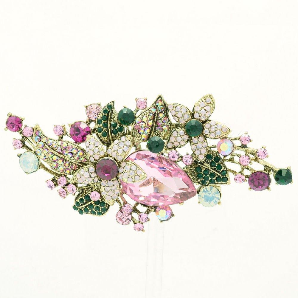 Vintage Glitzy Drop Leaf Flower Brooch Broach Pin Women Rhinestone Crystal 6405