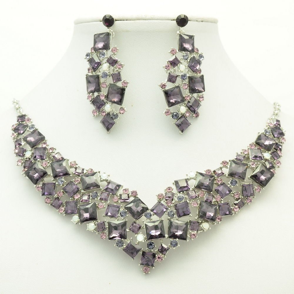 New Gift Necklace Earring Set Purple Rhinestone Crystal Accessories Jewelry 6696