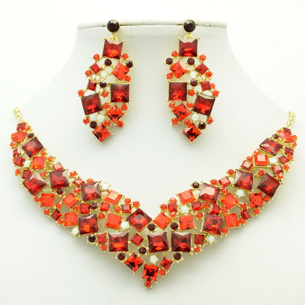 New Gift Necklace Earring Set Red Rhinestone Crystals Accessories Jewelry 6696